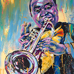Expressive abstract painting  Louis Armstrong